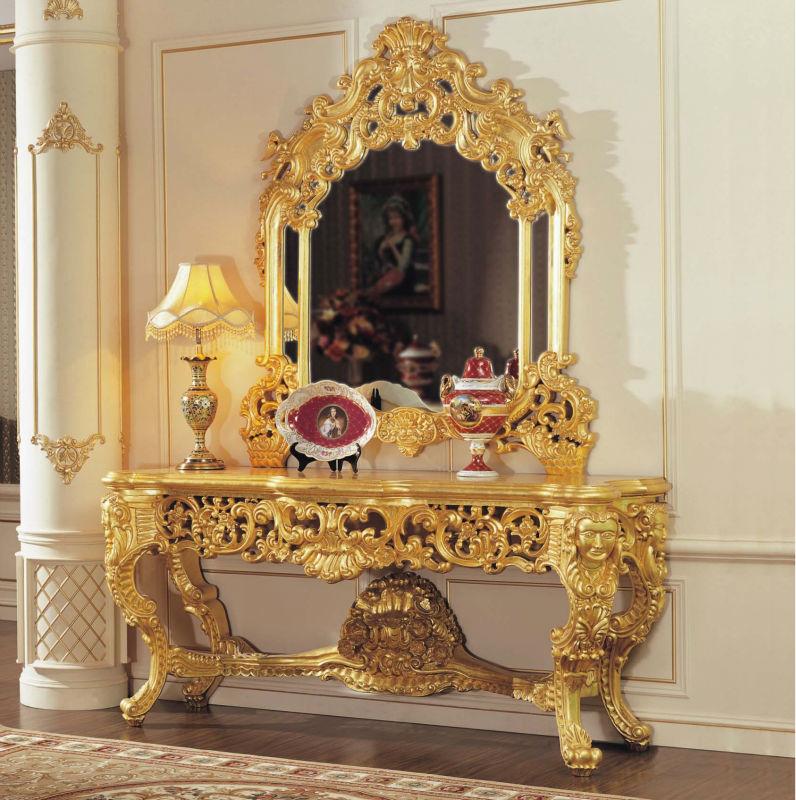 Tallado a mano hoja dorado tallado muebles de dormitorio muebles ...