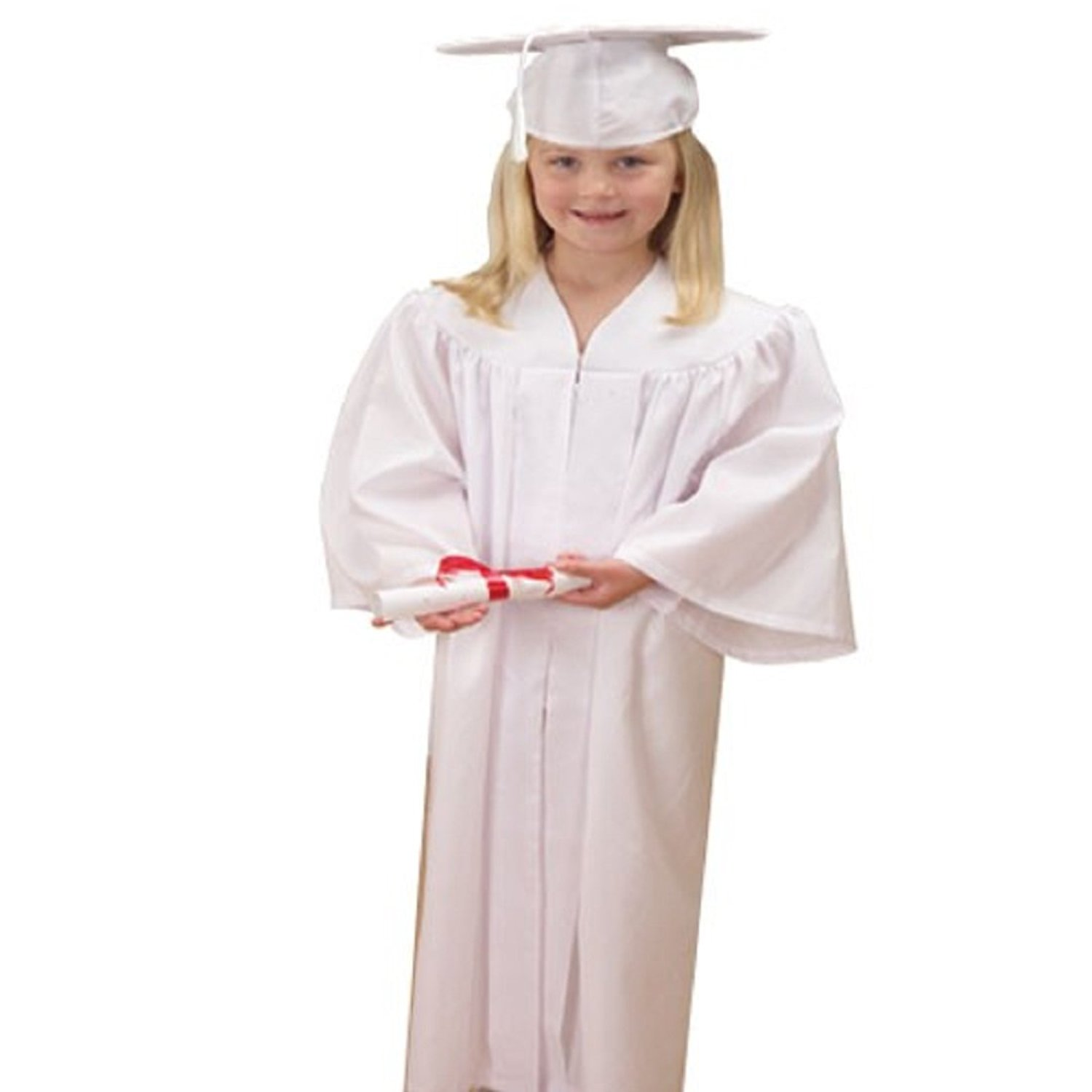 Buy US Toy -Kids White Graduation Cap & Gown, Polyester, Gown Size ...