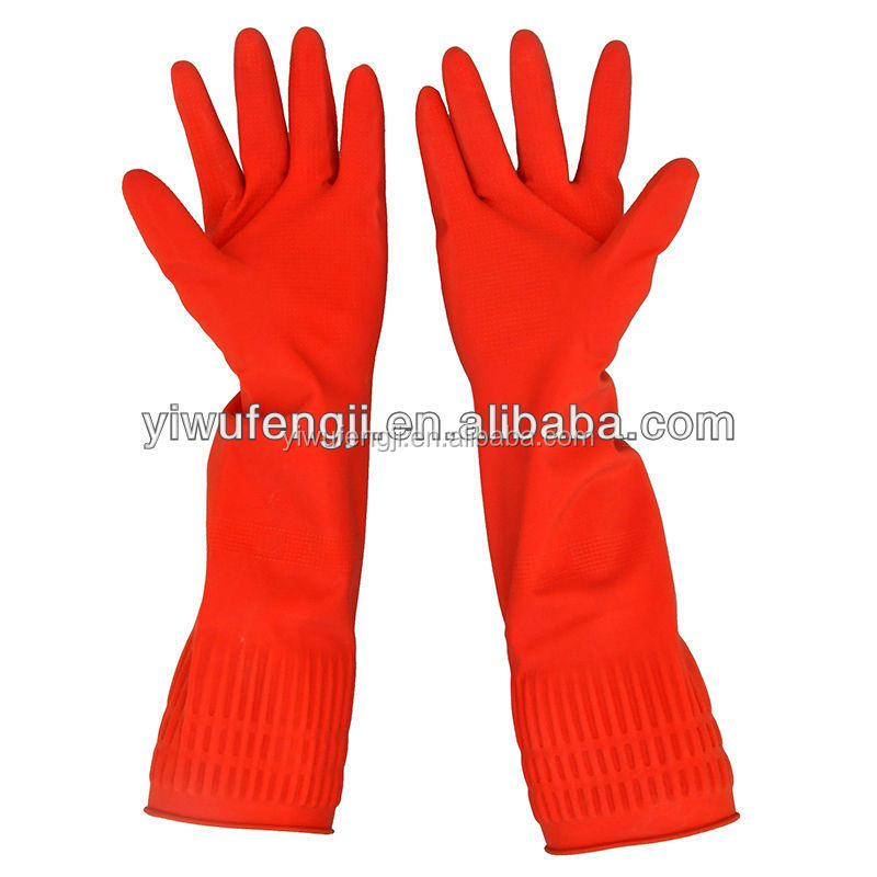 Unlined lengthen latex gloves big size glove long cuff winter protective household cleaning gloves