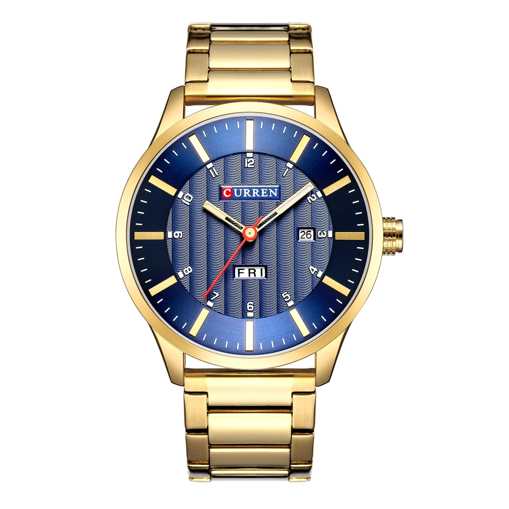 CURREN 8016 Men Japan Quartz Movement Watch Fashion&Casual Auto Date Stainless Steel Band Business Watch