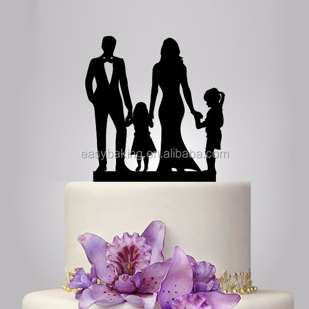 ECT-019 family wedding cake topper with two little girl, wedding silhouette cake decor, rustic cake topper, funny wedding cake decor, acrylic topper.jpg