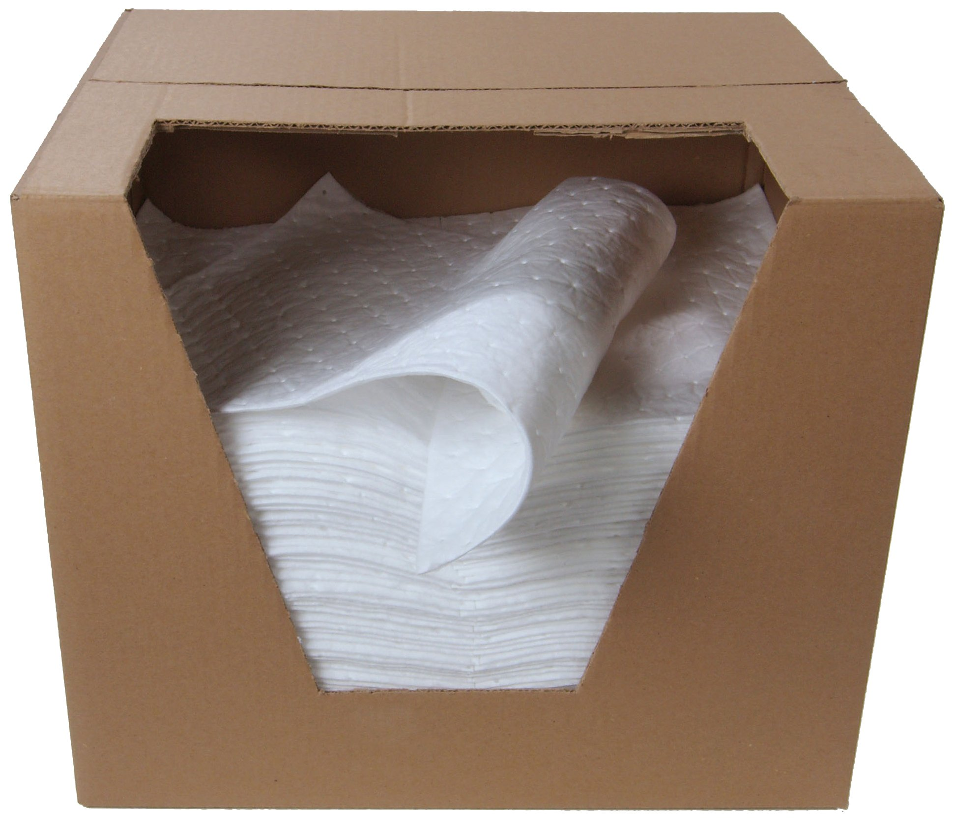 "ESP 2MBWPSL Polypropylene Medium Weight Meltblown Oil Only Absorbent Single Sided Laminated Pad, 18"" Length x 15"" Width, White (100 Per Bale)"