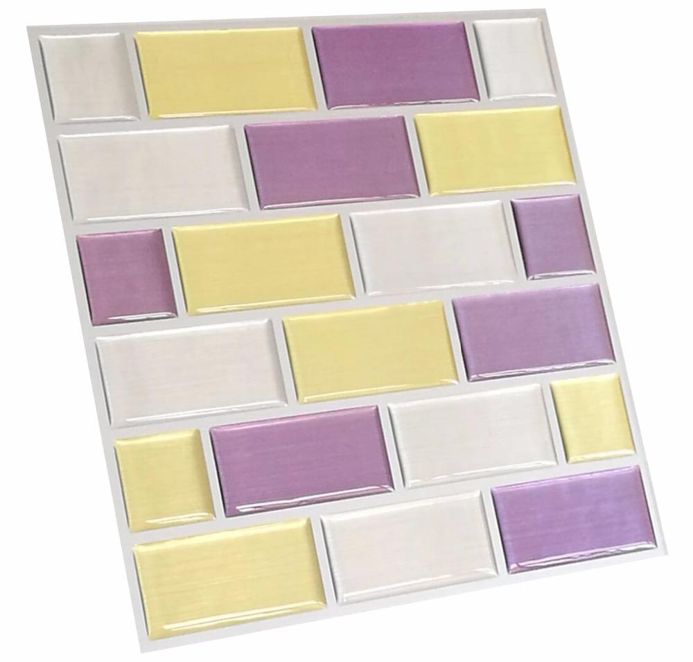 Atacado 3d auto adesivo de parede azulejos para banheiro for Mosaico adesivo 3d