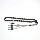 12mm islamic muslim prayer beads 33 beads, Black twisted beads agate rosary men and women unisex