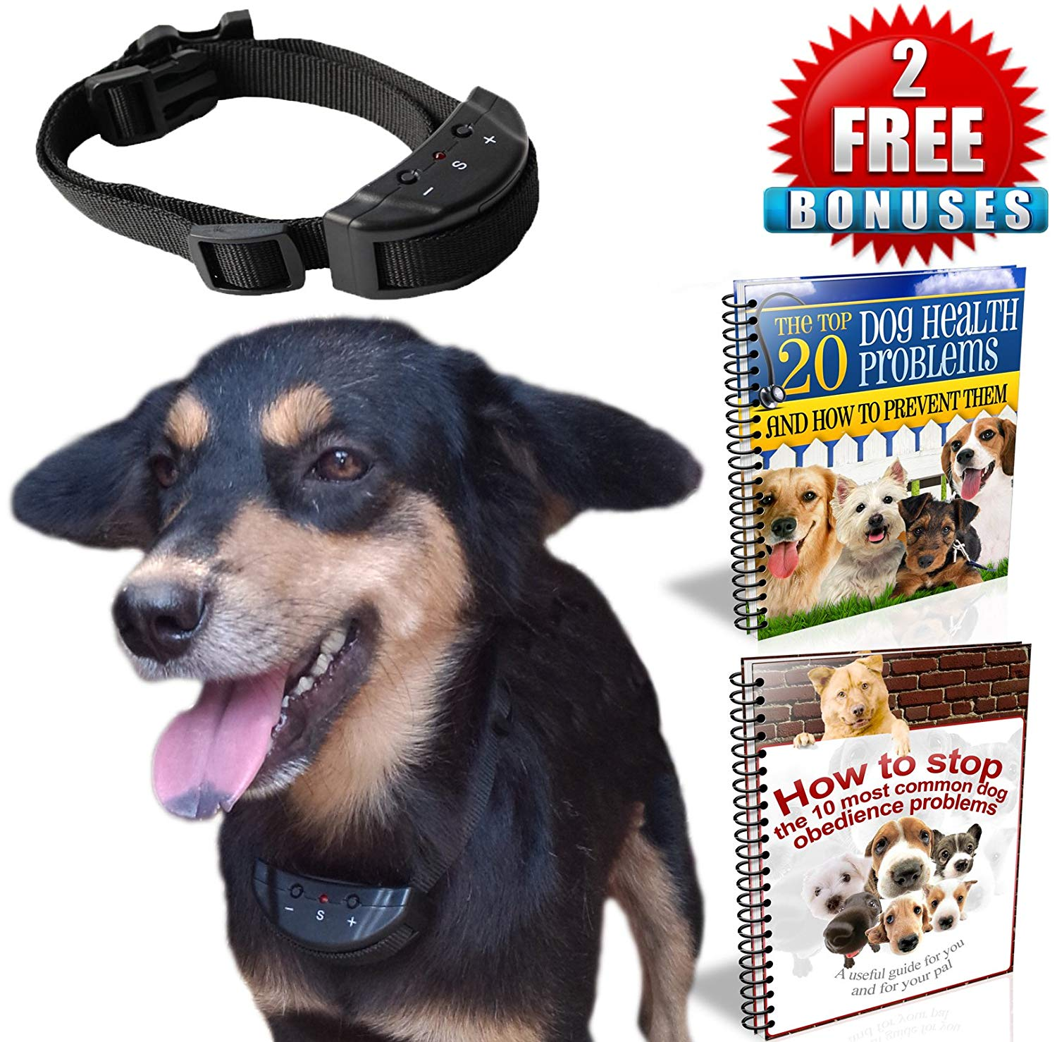 No Bark Training Electronic Anti-Bark Dog Collars from PetGoPro – Sound & Electric Static Shock E-Collar, Safe & Humane, Easy to Install, 7 Levels of Sensitivity and Designed for Small, Medium, and Large Dogs, Stop Your Dog from Barking Today!