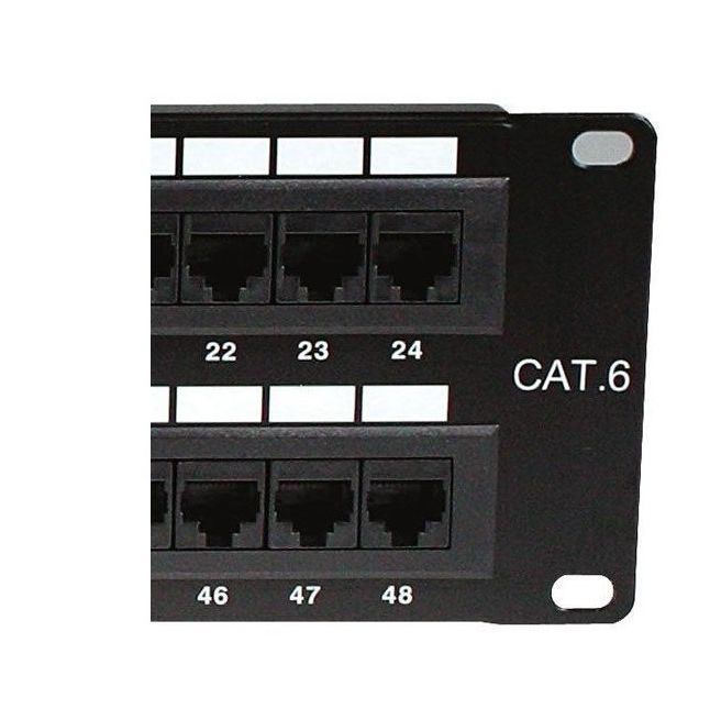 19'' Cat6 UTP Unshielded RJ45 Ethernet Network Patch Panel 48-port