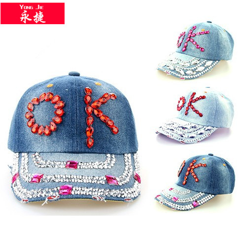high quality cap and hat rhinestone elastic baseball cap
