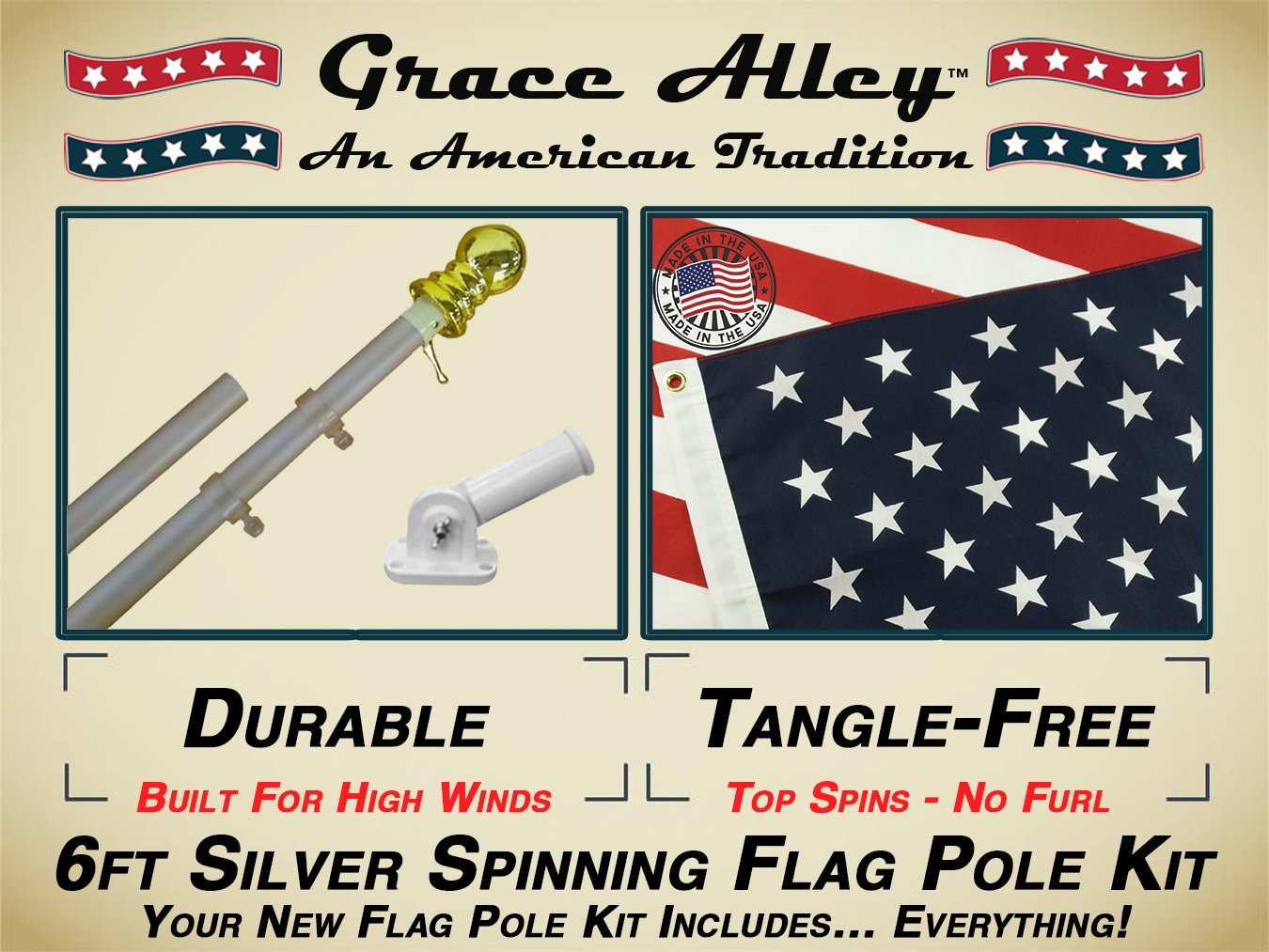 Flag Pole Kit: Tangle Free Flag Pole Kit includes US Flag - Made in USA, Outdoor Flag Pole and Flag Pole Bracket. Great for Residential or Commercial. Brushed Aluminum Flag Pole Kit by Grace Alley.