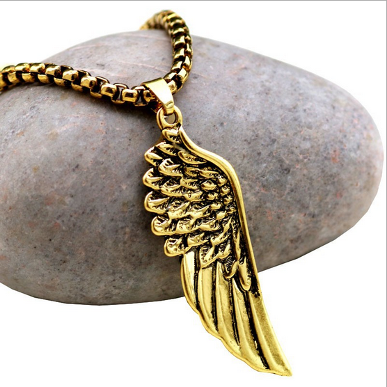 Brightly Double Layers Long Necklaces Double Angel Wings Simulated Rhinestone Pendants Necklace for Women