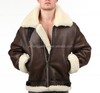 Mens Military Shearling Bomber Leather Jacket Buy Real Shearling