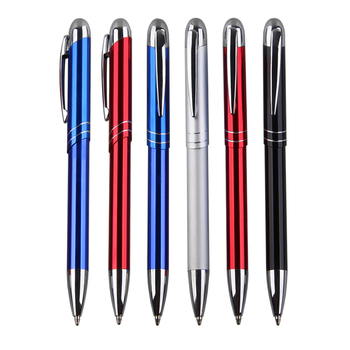 2018 new product customized  slash pen cap  neuter business gift  aluminum rod ballpoint pen with bright color