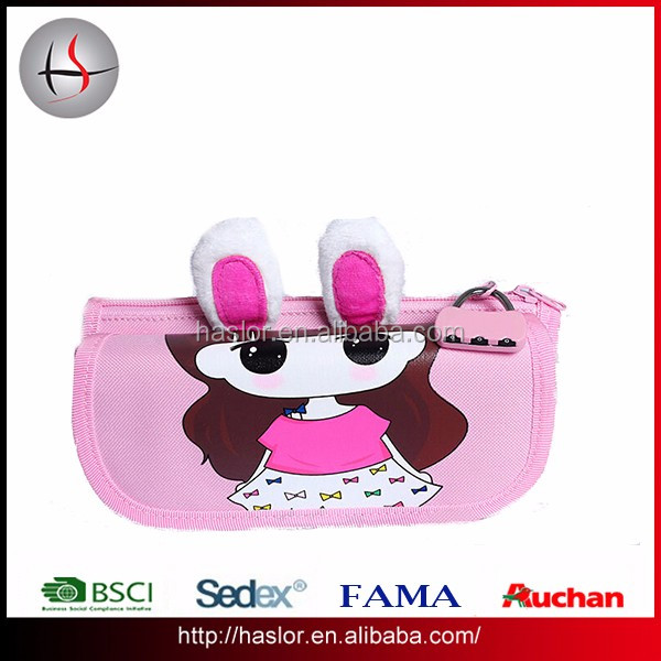 Girls one lock cute rabbit ears pink oxford pencil bags