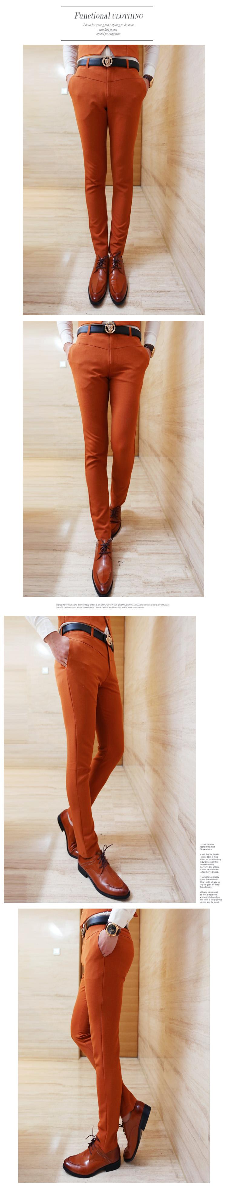 2016 הסתיו והחורף אנשים חדשים קוריאנית עיצוב סלים מקרית מוצק צבע המכנסיים / זכר מועדון לילה סלים מכנסיים ארוכים