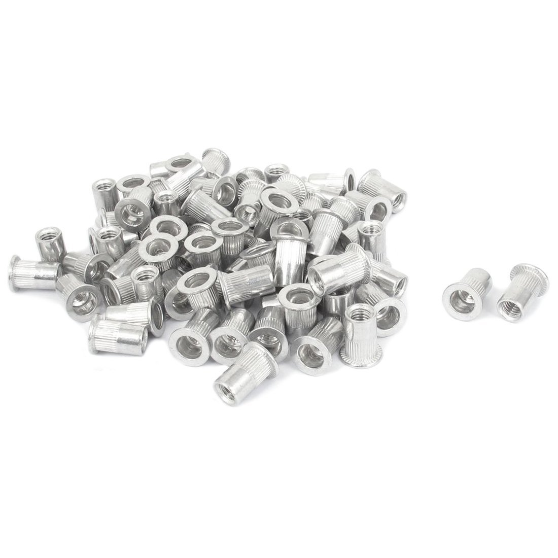 TOOGOO(R) M6x15mm Aluminum Flat Head Ribbed Body Rivet Nuts Insert Nutserts 100pcs