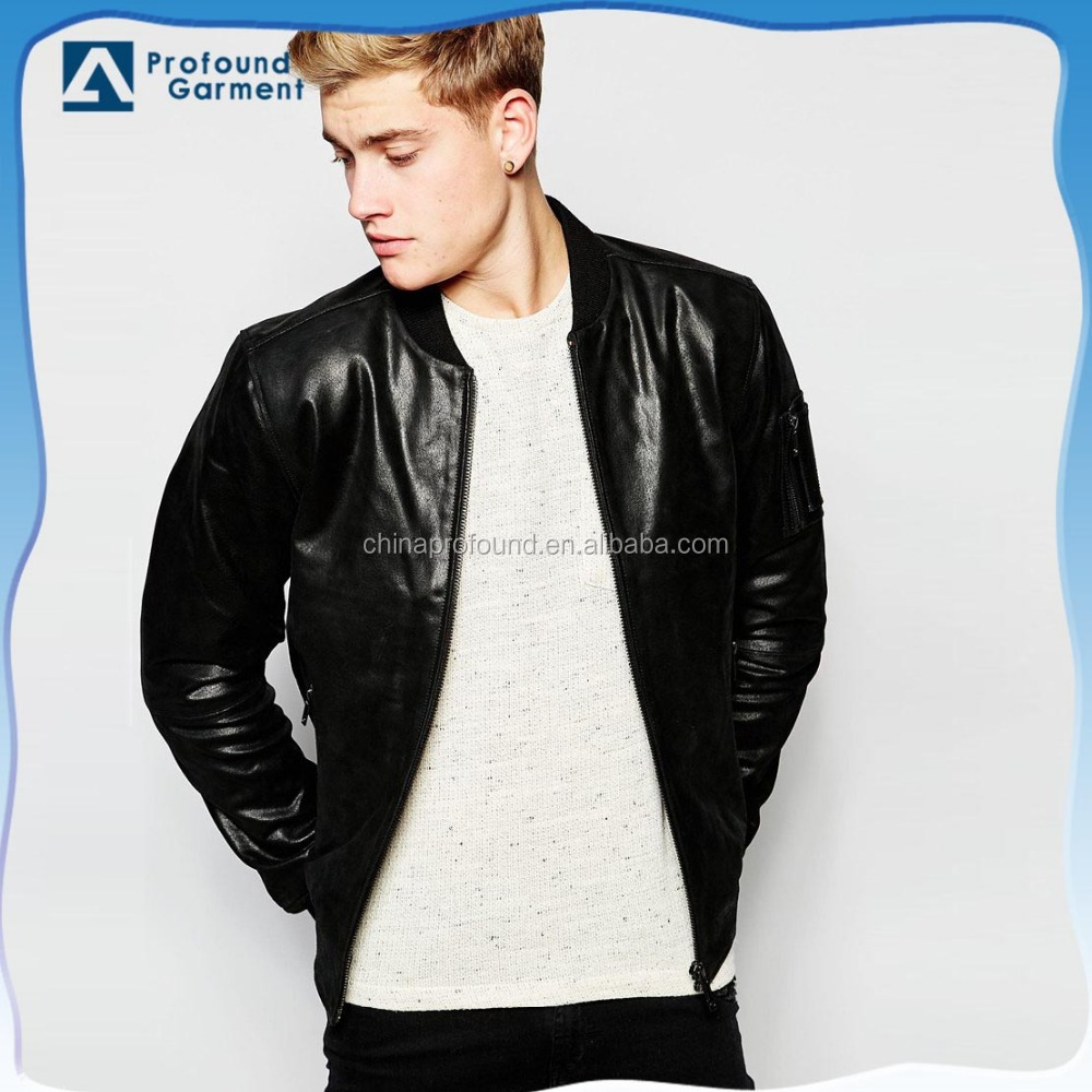 wholesale mid-weight smooth mens black motorcycle leather jacket round neck