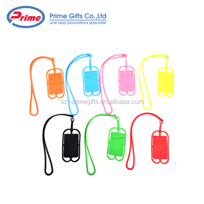 New Design 3M Sticker Silicone Mobile Phone Card Holder with String
