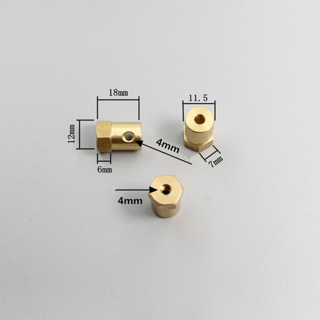 sourcing map Hex Coupler 5mm Bore Motor Hex Brass Shaft Coupling Flexible Connector for Car Wheels Tires Shaft Motor 4pcs