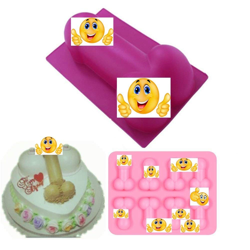 2 Pack Small and Large Cute Shape Cake Silicone Mold for Bachelorette Party Hilarious Funny DIY Chocolate jelly Candy Cookie Fondant Ice Cube Mould Baking Tool Set