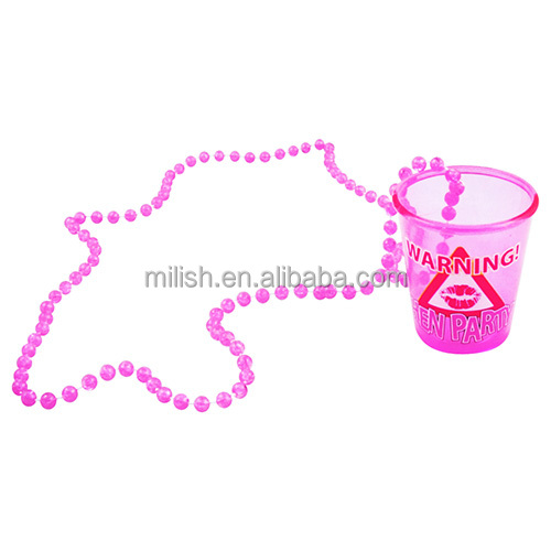 HEN-0038 wholesale Bride To Be Badge Hen Night Party pink necklace and samll cup