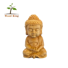 Sculptured Ornaments Crafts Cartoon Monk Car Furnishing Articles Chinese Buddha Wood Carving Statue Wooden Buddha