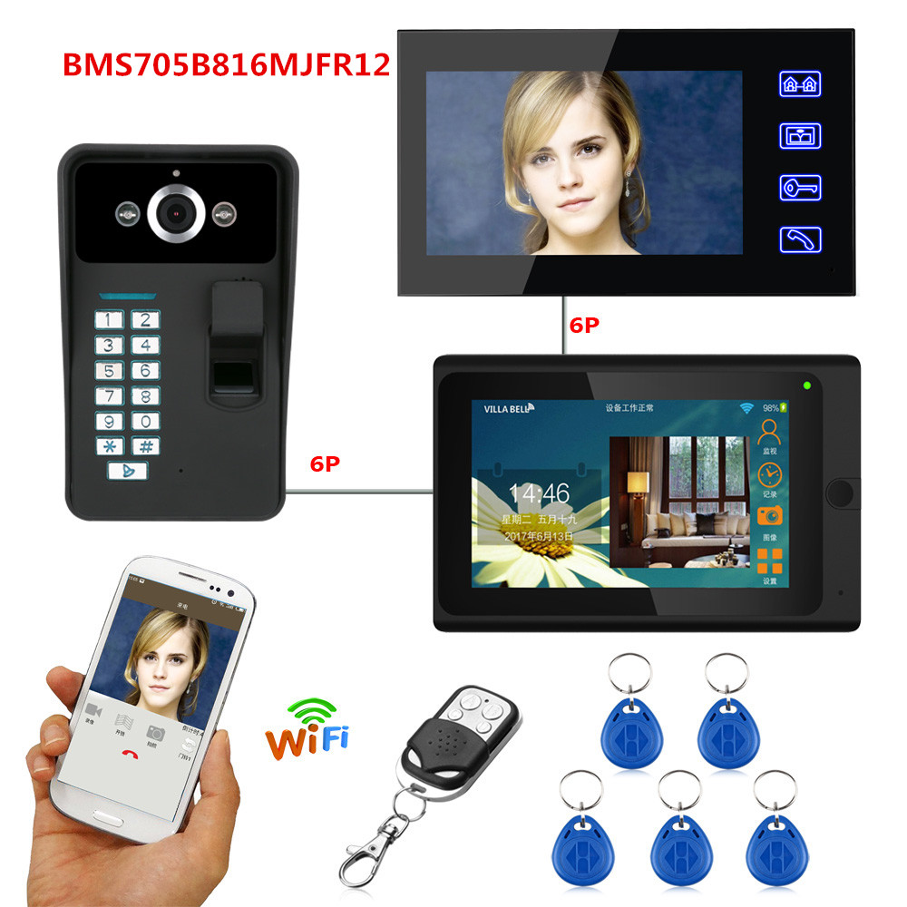 "7"" 2 Monitors Wired /Wireless Video Door bell Wifi Intercom System with Fingerprint RFID Password"