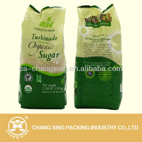 pillow shape plastic bag for organic sugar