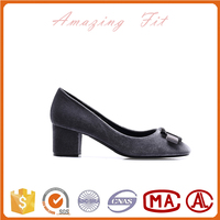 Soft turkey style lady pumps women summer velvet chunky heel court shoes