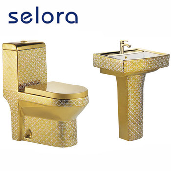 Golden toilet bathroom suite , washdown one piece toilet ,three Pieces Golden Bathroom Suites