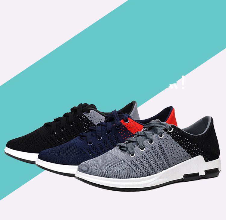 2017 wholesale knitted Korean design trail sports shoes running for men