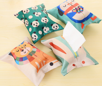 cartoon cute bear funny tissue box cover linen fabric lion round car tissue box for work place
