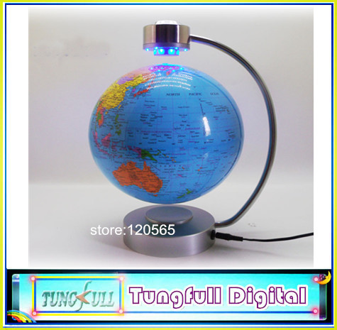 Free Shipping 8 inch LED Light Magnetic Levitation Floating Globe, anti gravity rotation,home decoration gifts & crafts