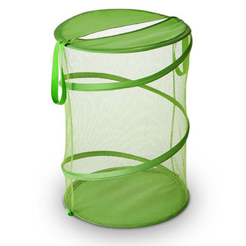 high quality spiral foldable washable pop up round mesh laundry hamper