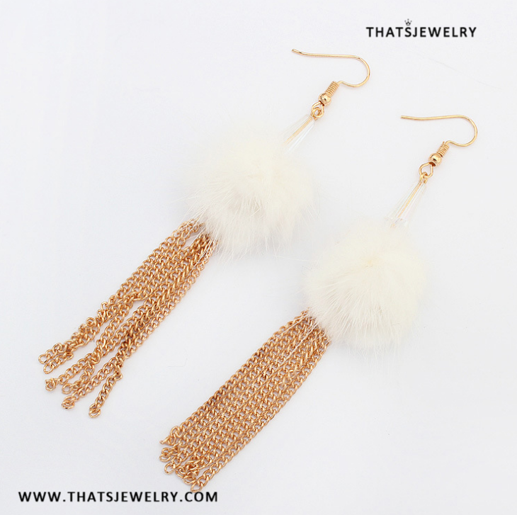 Thatsjewelry Long Bohemian Chain Chunky Feather Dangle Earring