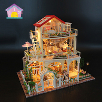Children diy material kit custom made miniatures carton box diy house puzzle