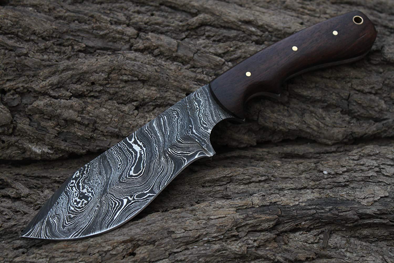 "Damascus Blade Handmade 5.2"" Hunting knife w/Walnut Wood & Fine Sheath Cover UDK-K-C-60"