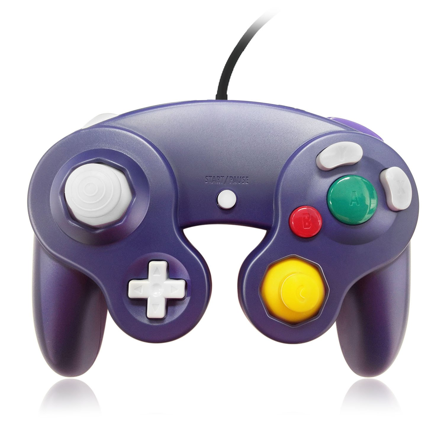 TNP GameCube Controller Nintendo GC and Wii Compatible GameCube Video Game Console Remote Classic Wired Gaming Joystick Gamepad Joypad NGC Replacement Accessories (Purple)