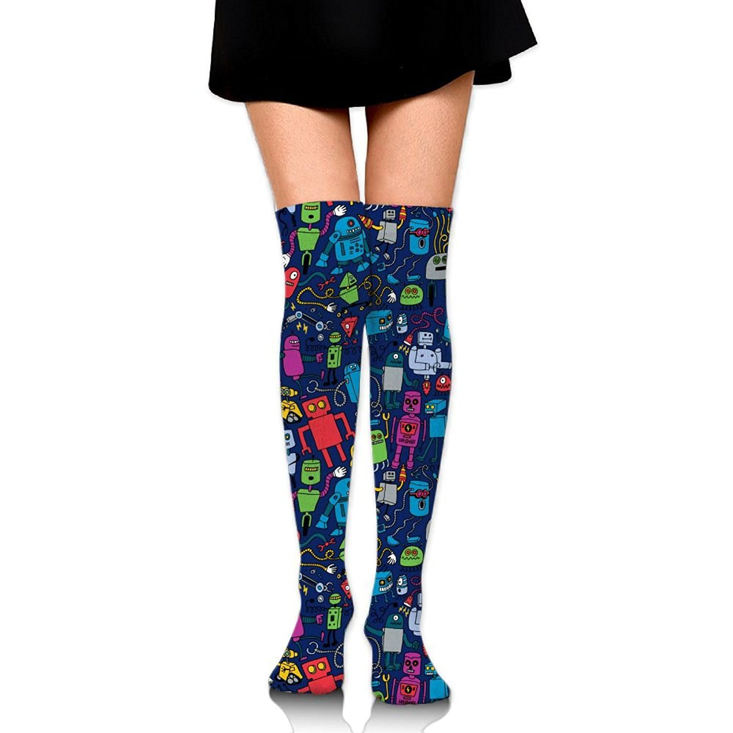Zaqxsw Color Robot Women Vintage Thigh High Socks Thermal Socks For Teen Girls