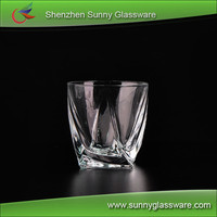 Wholesale low MOQ crystal twist scotch whiskey glasses cups