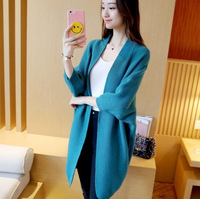hot selling new fashion wool oversize batwing sleeve women cardigan ladies long knit sweater coat multiple color