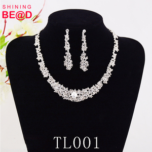 2019 Top quality rhinestone crystal wedding jewelry sets Necklace,Earring Weddings for bride bridesmaid Fashion Party Wear