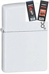 Zippo 214zl White Matte With Logo Lighter Withflint & Wick Gift Set