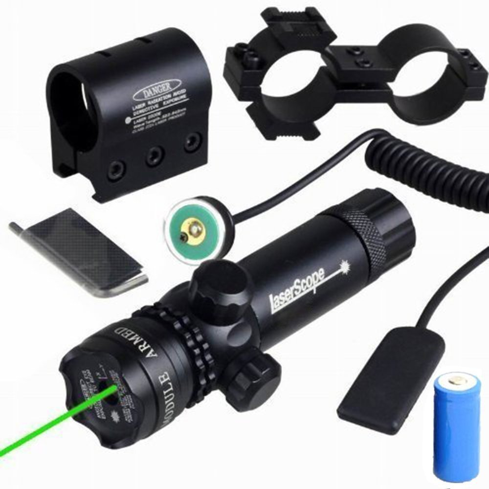 Compact Tactical Adjustable Rifle/Gun Green Laser/Gun-Sights, Freehawk® Hunting Rifle Dot Scope Green 532nm Aser Sight with On/off Swith Picatinny/weaver Mounts + Barrel Mount