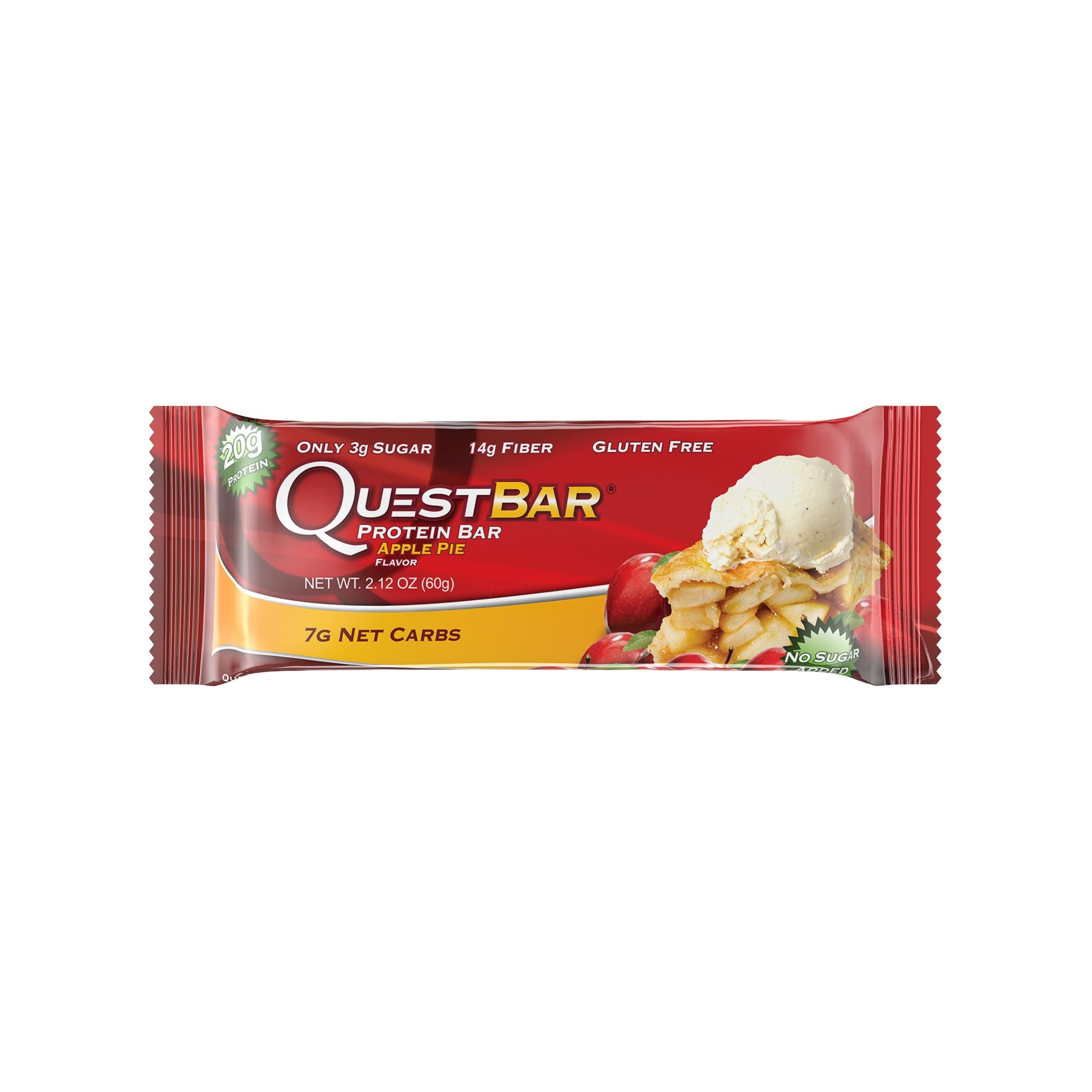 Quest Nutrition Protein Bar, Apple Pie, 20g Protein, 6g Net Carbs, 190 Cals, High Protein Bars, Low Carb Bars, Gluten Free, Soy Free, 2.1 oz Bar, 12 Count