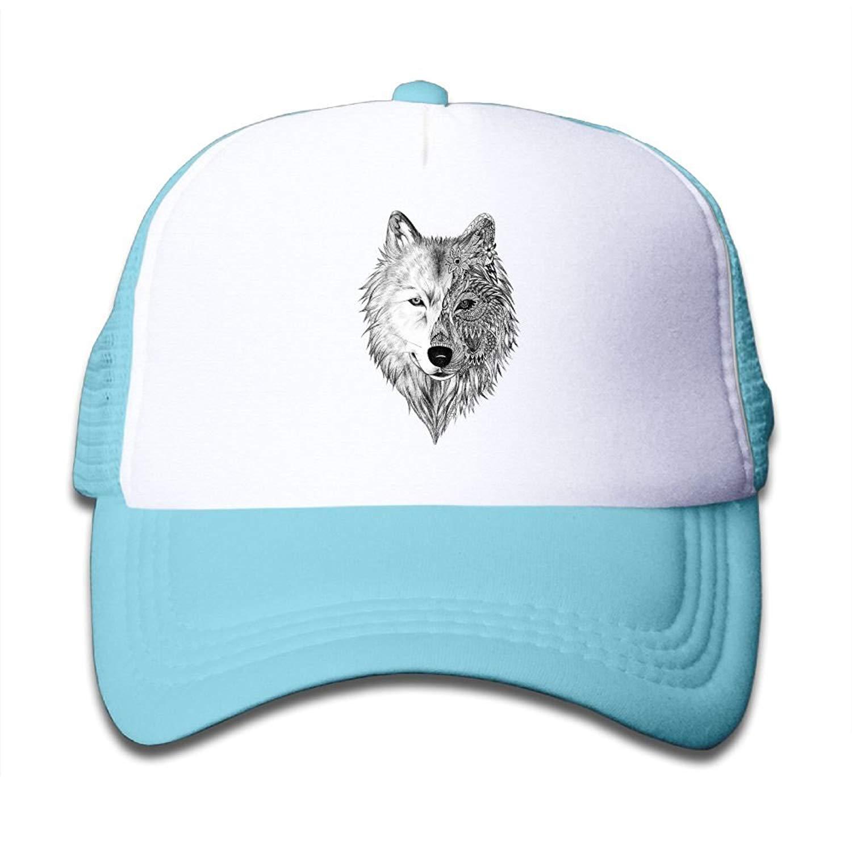 27efed26e82 Get Quotations · Kid s Big Wolf Head Cool Adjustable Casual Mesh Baseball  Cap Trucker Hat