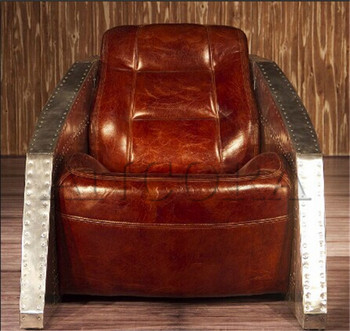 Nice Fancy Sinclair Leather Club Chair,Tub Chair With Metal Arm AN 2051