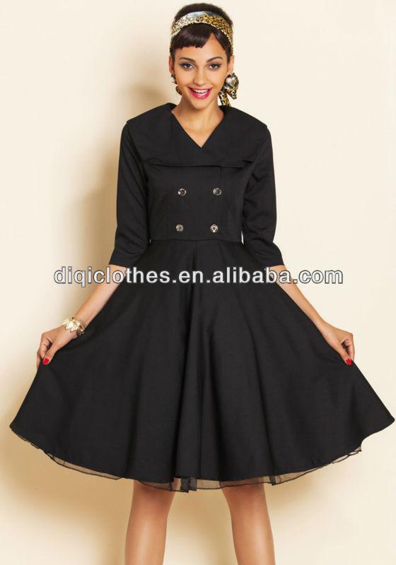 Vintage Style Slim Waist Black Dress With Wide Lapel Half Sleeve