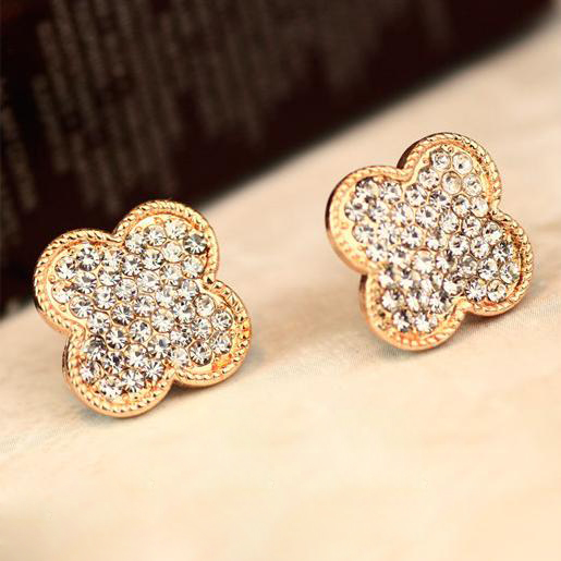 Gold Earrings Designs For S Lucky Four Leaf Clover Cute Designer