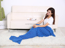 Hot selling Acrylic Fabric Kintted Mermaid tail Adult Blanket with packing box
