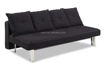 Japanese Style Folding Futon Sofa Bed With Black Linen Fabric