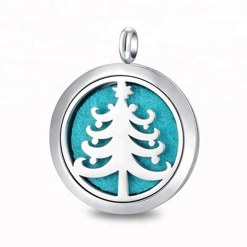 Custom 316L Stainless Steel Hollow Out Christmas Tree Aromatherapy Diffuser Locket Essential Oil Pendant